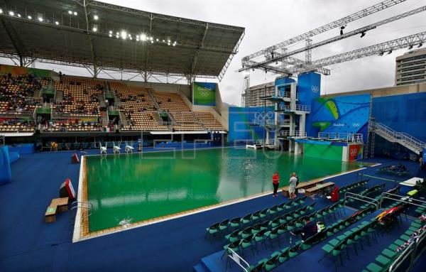Green Color Of Water In Olympic Pools For Diving Waterpolo Shocks Athletes Outstanding