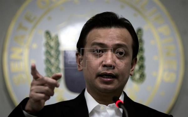 A handout photo released  by the Philippine Senate-Public Relations and Information Bureau (PRIB) shows Filipino senator Antonio Trillanes IV speaking during a news conference at the Philippine Senate in Pasay city, south of Manila, Philippines, 16 February 2017. EPA/PRIB