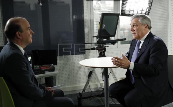 President of the European Parliament Antonio Tajani (R) during an interview with Spanish news agency EFE in Madrid, Spain, on Feb. 11, 2017. EFE/Angel Diaz