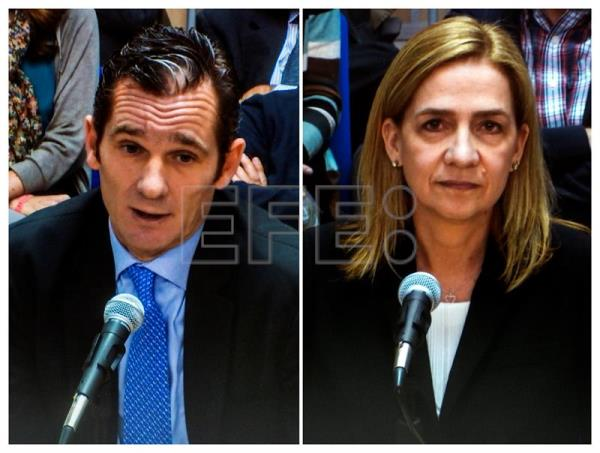 Composite photo of two file photos taken from a internal TV of Spain's King Felipe VI's sister Princess Cristina de Borbon (R), dated Mar. 3, 2016, and her husband Inaki Urdangarin, dated Mar. 2, 2016, testifying before court during a session of the trial in the so-called Noos corruption case, in Palma de Mallorca, Balearic Islands, Spain.  EFE/Cati Cladera