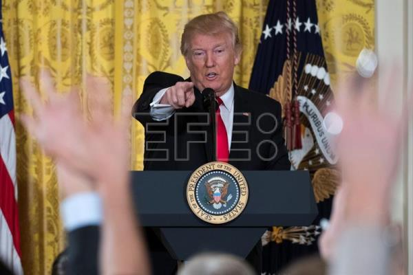 A file image from Feb. 16, shows US President Donald J. Trump participating in a press conference in the East Room in of the White House in Washington, DC, USA. EPA/SHAWN THEW