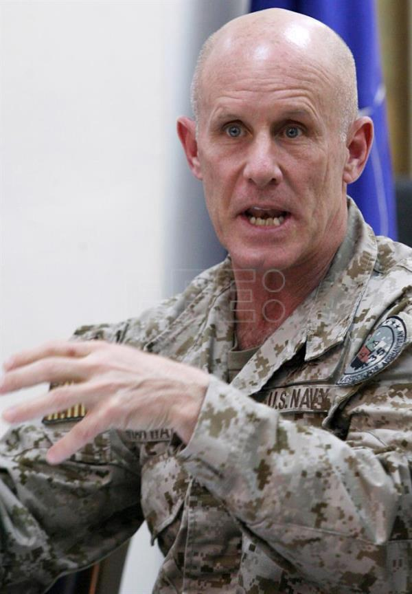 A file photo from Feb. 27, 2010 shows  United States Navy Vice Admiral Robert S. Harward, Commander of the Joint Task Force 435, speaking with journalists during a joint press conference in Kabul, Afghanistan.