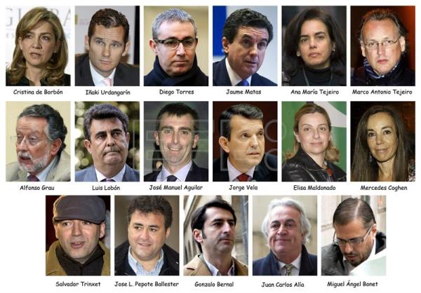 A composite image showing all the defendants in the fraud case involving Princess Cristina de Borbon , sister of King Felipe VI of Spain and her husband Iñaki Urdangarin. EFE