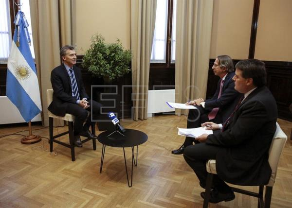 Argentine President Mauricio Macri speaks during an exclusive interview with EFE, in Buenos Aires, Argentina. EFE/David Fernández