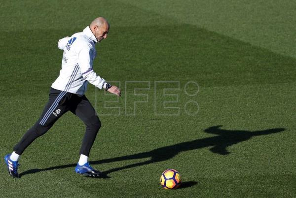 The Head Coach Of Real Madrid Zinedine Zidane During A Training Session At Valdebebas