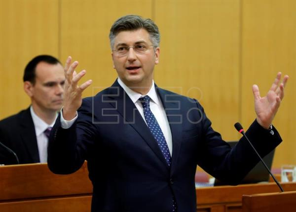 Archive image shows Croatian Prime Minister Andrej Plenkovic (C) debating a no confidence motion against Finance Minister Zdravko Maric, at the Croatian Parliament in Zagreb, Croatia, May 3, 2017.  EPA/ANTONIO BAT