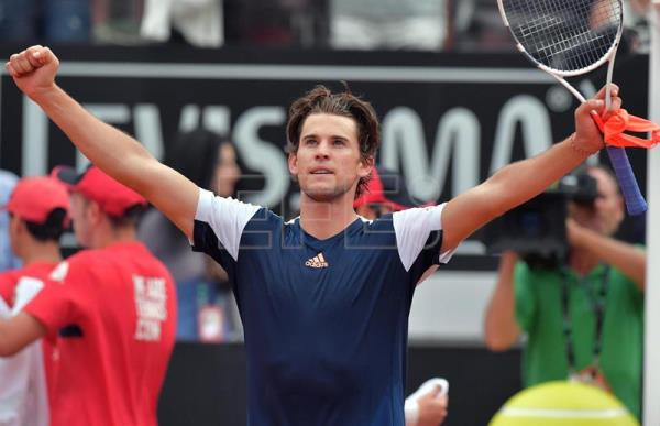 Dominic Thiem of Austria celebrates winning his quarter final match against Rafael Nadal of Spain during the Italian Open tennis tournament at the Foro Italico in Rome, Italy, May 19, 2017. EPA/ETTORE FERRARI