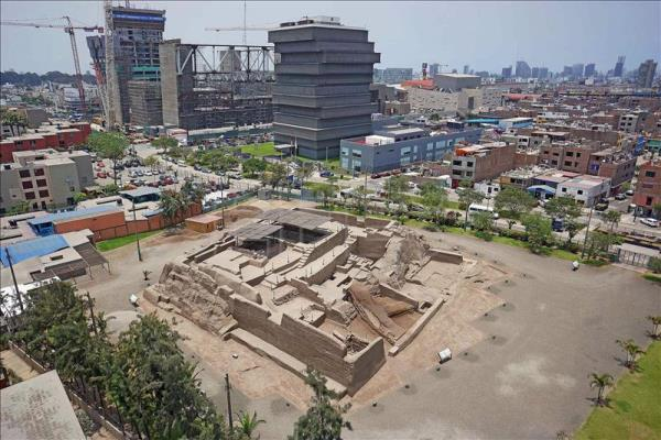 Photograph taken by a drone of an archaeological site in the San Borja district of Lima, Peru. EFE