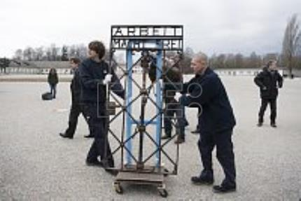 Former Nazi concentration camp gate displayed after 2 years missing