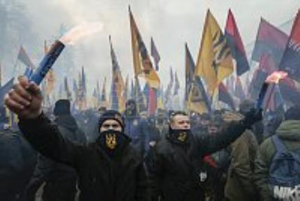 Ukrainian nationalists stage a show of force in the capital Kiev