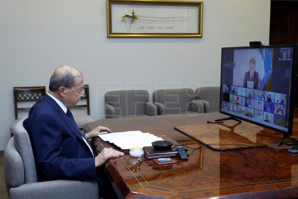 Lebanese President Michel Aoun in donor tele-conference