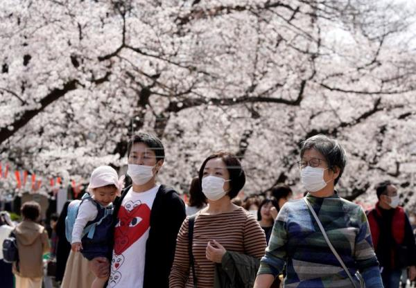 Japanese people defy coronavirus to admire the cherry blossoms