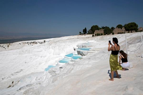 Ancient city Hierapolis and Pamukkale travertines in Turkey