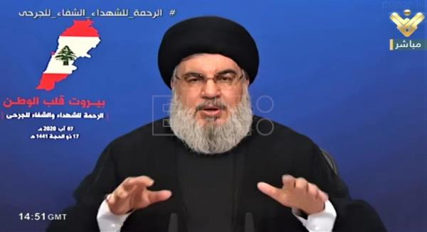 Hezbollah leader Sayyed Hassan Nasrallah gives a speech in Beirut