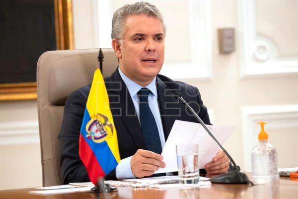 Colombian President Ivan Duque speaking in Bogota