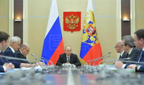 Russian President Vladimir Putin chairs a meeting on economic issues