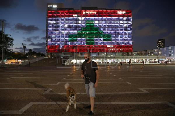 Tel Aviv solidarity with Beirut after explosion