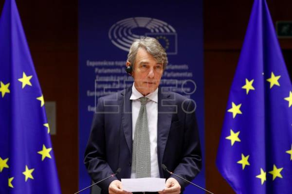 European Parliament President David Sassoli announces the 2020 EU Sakharov Prize at the European Parliament in Brussels
