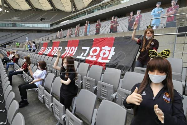 South Korean soccer club apologises for using sex dolls as cheering mannequins in empty stadium