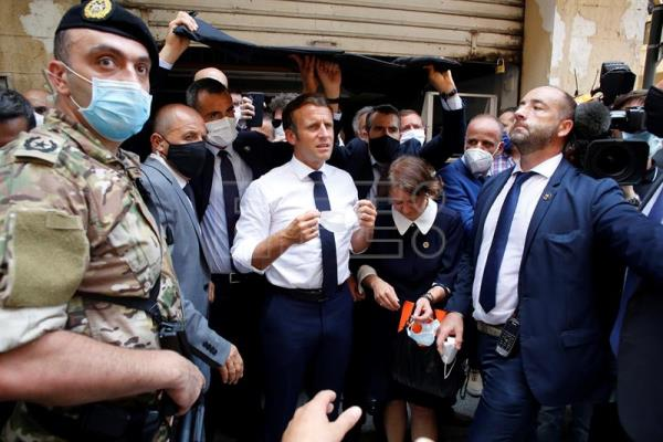 French President Emmanuel Macron arrives in Lebanon after blast