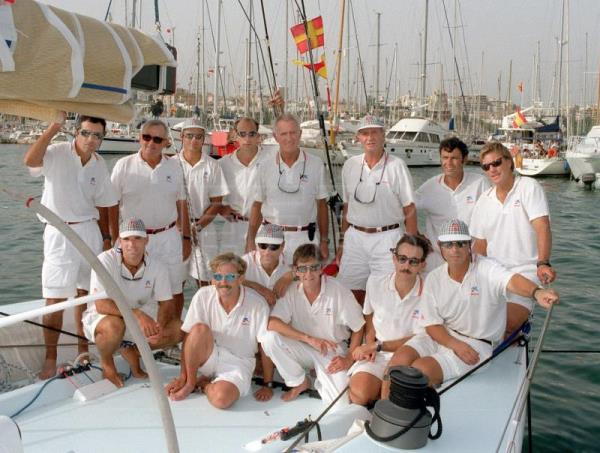 "Palma de Mallorca, 9-8-1997.-King Juan Carlos (Standing -R3) poses with the team manning his sailboat ""Bribon"" which is competing in the XVI edition of the King's Sailing Cup, in Palma de Mallorca, Aug, 9, 1997. EPA-EFE(FILE) /M.H. de León."