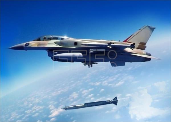 "Undated handout image released June 11, 2018 by Israeli Aircraft Industries (IAI) shows an Israeli two-seater block 30 F-16D aircraft releasing the new IMS/IAI ""Rampage"" supersonic, stealth, high precision, Air-to-Surface missile, capable of being launched from a stand-off position by a combat aircraft, 150 km from the target. EFE-EPA/IAI HANDOUT/EDITORIAL USE ONLY."