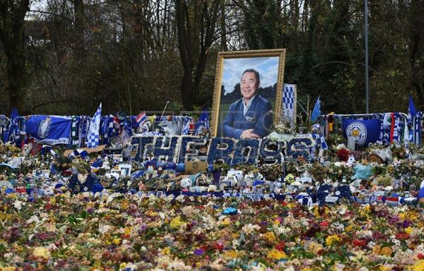 Tributes left for Leicester City FC owner Vichai Srivaddhanaprabha at King Power Stadium in Leicester, England, on Nov. 28, a month after he died in a helicopter crash. EFE-EPA/ANDY RAIN