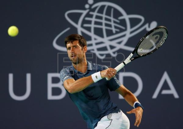 9d1a91667 Novak Djokovic of Serbia in action during his semi final match against  Karen Khachanov of Russia