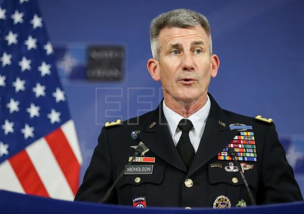 US General John Nicholson, Commander Resolute Support Mission in Afghanistan gives a press conference at the end of the second day of NATO Defense Ministers council with resolute support operational partner nations at alliance headquarters, in Brussels, Belgium, Nov. 9, 2017. EPA-EFE FILE/STEPHANIE LECOCQ