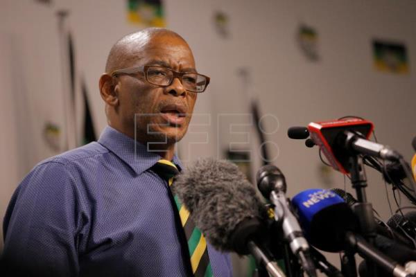 Ace Magashule addresses the media with feedback from the ANC NEC meeting held overnight, in Johannesburg, South Africa, Feb. 13, 2018. EPA-EFE FILE/KIM LUDBROOK