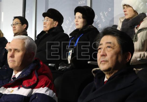 US Vice President Mike Pence (L, front row) attends the opening ceremony alongside Japanese Prime Minister Shinzo Abe (R), North Korea's nominal head of state Kim Yong-nam (2-L) and Kim Yo-jong (2-R), the sister of North Korean leader Kim Jong-un of the PyeongChang Olympics in PyeongChang, Gangwon Province, South Korea, Feb. 9, 2018. EPA-EFE FILE/YONHAP