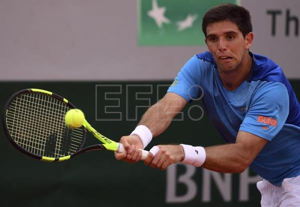 Argentine tennis player Federico Delbonis returns a ball during a Roland Garros match in Paris, France, May 29, 2017. EPA-EFE FILE/Caroline Blumberg