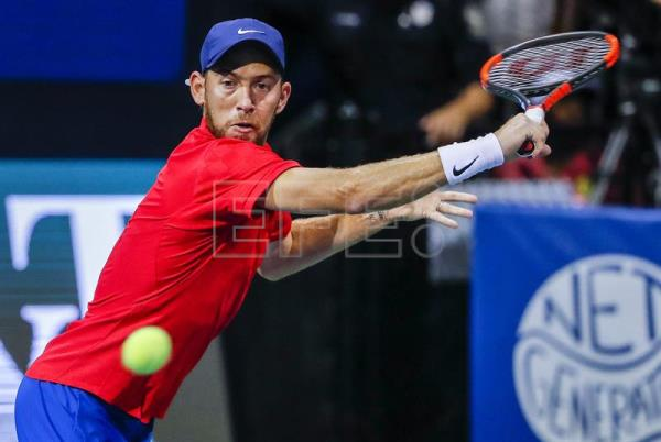 Dudi Sela of Israel in action against Jack Sock of US during a second round match at the BB&T Atlanta Open tennis tournament at Atlantic Station in Atlanta, Georgia, USA, Jul. 27, 2017. EPA-EFE FILE/ERIK S. LESSER