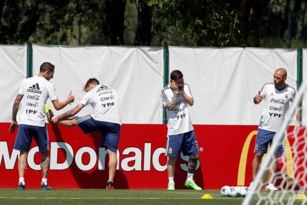 Argentina holds training before World Cup clash with France