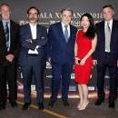 Winners of the 6th China-Spain Prizes for Professional Excellence pose for a photo on Feb. 16, 2019, at Madrid's Hotel Palace: Agencia EFE President Fernando Garea (3rd l.) took the prize for Communications, designer Pedro Valverde (c.) for Fashion, Jose Antonio Camacho (2nd r.) for Sports, and Hispanist Chen Goujian (r.) for Culture, among others. EFE-EPA/Zipi