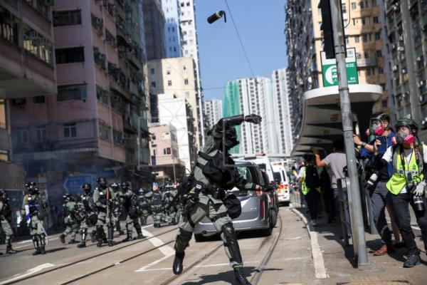 At least one protester shot by police in Hong Kong