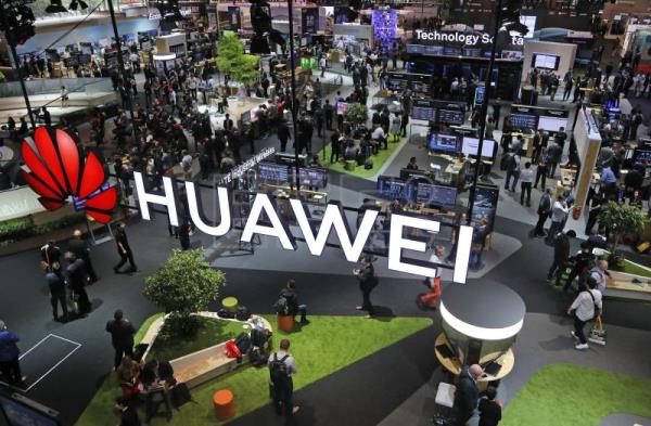 General view of the Huawei booth at the CeBIT computer fair in Hanover, northern Germany, 12 June 2018. EPA-EFE FILE/FOCKE STRANGMANN