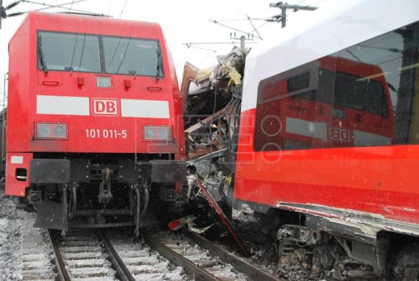 Damaged carriages after two passenger trains collided in Niklasdorf, Austria, Feb. 12, 2018. EPA/BFV LEOBEN / SCHOENAUER HANDOUT