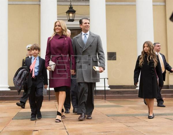 Donald Trump Jr., with his wife Vanessa and children depart St. John's Church in Washington, DC, USA, 20 January 2017. EPA-EFE FILE/Chris Kleponis