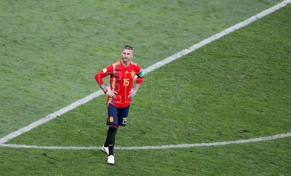 Sergio Ramos of Spain reacts after losing the penalty shootout of the FIFA World Cup 2018 round of 16 soccer match between Spain and Russia in Moscow, Russia. EFE