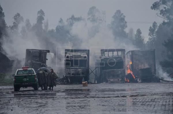 Hooded attackers burn 18 food trucks in southern Chile