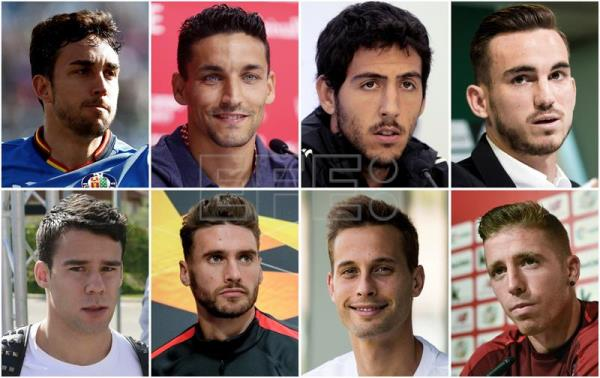 (left to right, top to bottom) Forward Jaime Mata, midfielders Jesus Navas, Dani Parejo and Fabian Ruiz, defenders Juan Bernat and Sergi Gomez, midfielder centrocampista Sergio Canales and forward Iker Muniain are the eight new faces included among head coach Luis Enrique's list of call-ups for his squad's first two Euro 2020 qualifying matches against Norway and Malta. EPA-EFE