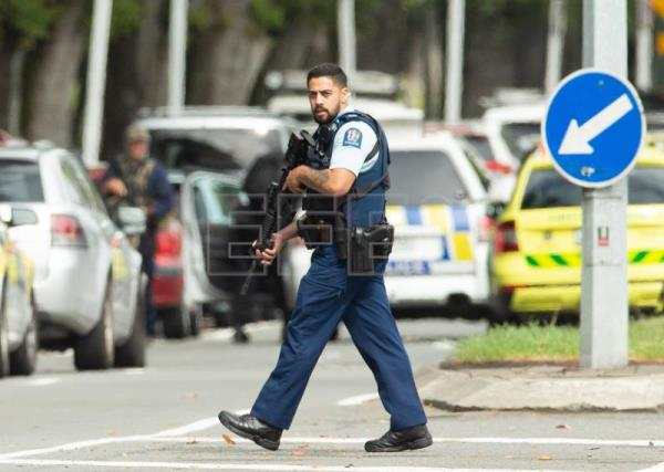 Armed police patrol following a shooting resulting in multiply fatalities and injuries at the Masjid Al Noor on Deans Avenue in Christchurch, New Zealand, Mar. 15, 2019. EPA-EFE/Martin Hunter NEW ZEALAND OUT