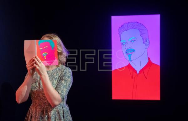 A commissioned portrait 'untitled (George)' by Irish artist Michael Craig-Martin, formerly owned by the late British singer George Michael, is on display during a press preview at Christie's auction house in London, Britain, March 8, 2019. EPA-EFE FILE/FACUNDO ARRIZABALAGA