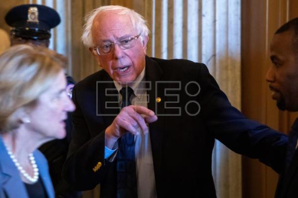 Vermont Sen. Bernie Sanders is seen at the Capitol in Washington, DC, USA, on March 14, 2019. The United States Senate that day approved a resolution blocking US President Donald J. Trump's declaration of an emergency at the southern border, setting up a likely veto by the president. EPA-EFE/ERIK S. LESSER
