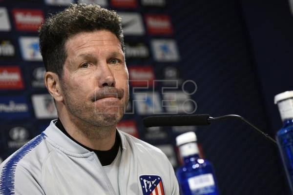 Atletico Madrid head coach Diego Simeone reacts during a press conference in Madrid, Spain, Mar. 15, 2019. EPA-EFE/VICTOR LERENA