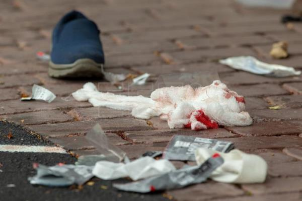 Bloodied bandages on the road following a shooting resulting in multiply fatalities and injuries at the Masjid Al Noor on Deans Avenue in Christchurch, New Zealand, Mar. 15, 2019. EPA-EFE/Martin Hunter NEW ZEALAND OUT