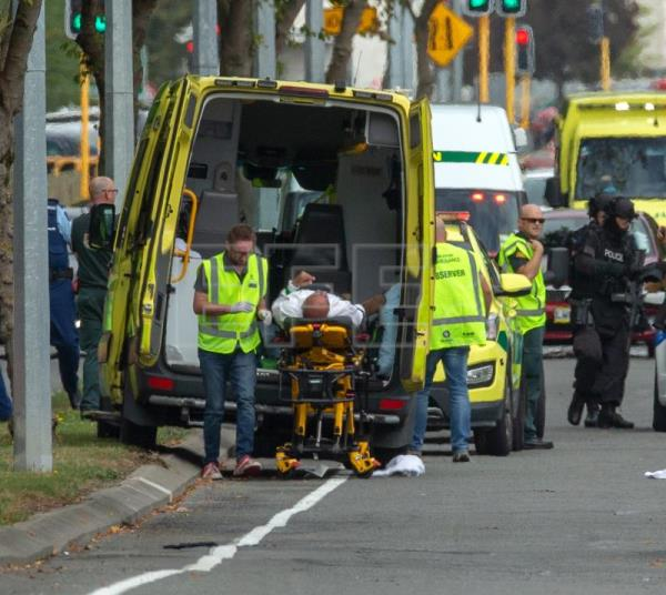 An injured person is loaded in an ambulance following a shooting resulting in multiple fatalities and injuries at the Masjid Al Noor on Deans Avenue in Christchurch, New Zealand, Mar. 15, 2019. EPA-EFE/Martin Hunter NEW ZEALAND OUT