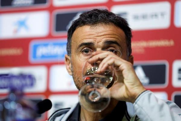 Spanish national soccer team head coach Luis Enrique announces his call-ups for his squad's first two Euro 2020 qualification matches during a press conference in Madrid, Spain, on March 15, 2019. EPA-EFE/Juan Carlos Hidalgo