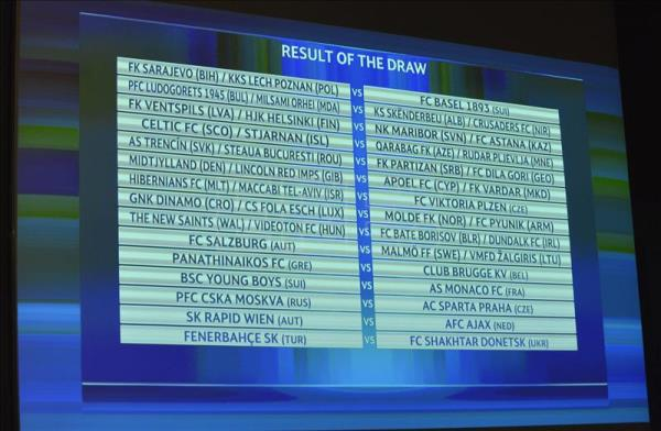 a display shows the results of the draw for the third qualifying round of the 2015